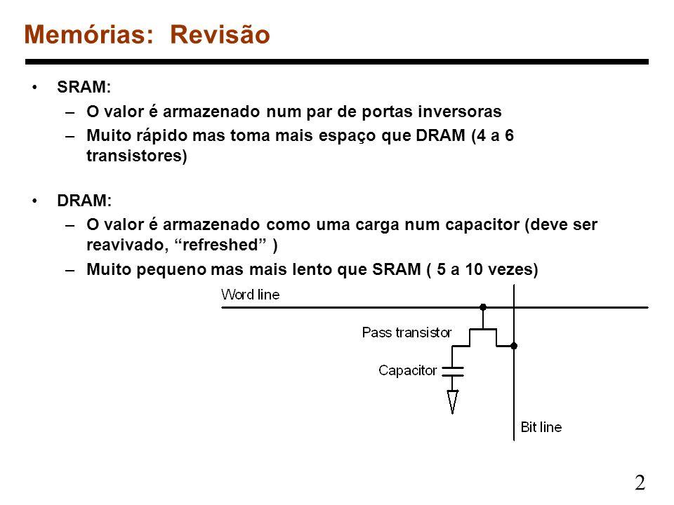 2 SRAM: –O valor é armazenado num par de portas inversoras –Muito rápido mas toma mais espaço que DRAM (4 a 6 transistores) DRAM: –O valor é armazenad