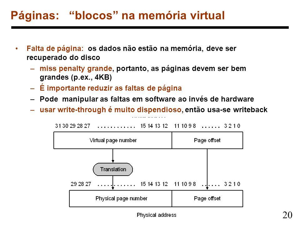20 Páginas: blocos na memória virtual Falta de página: os dados não estão na memória, deve ser recuperado do disco –miss penalty grande, portanto, as