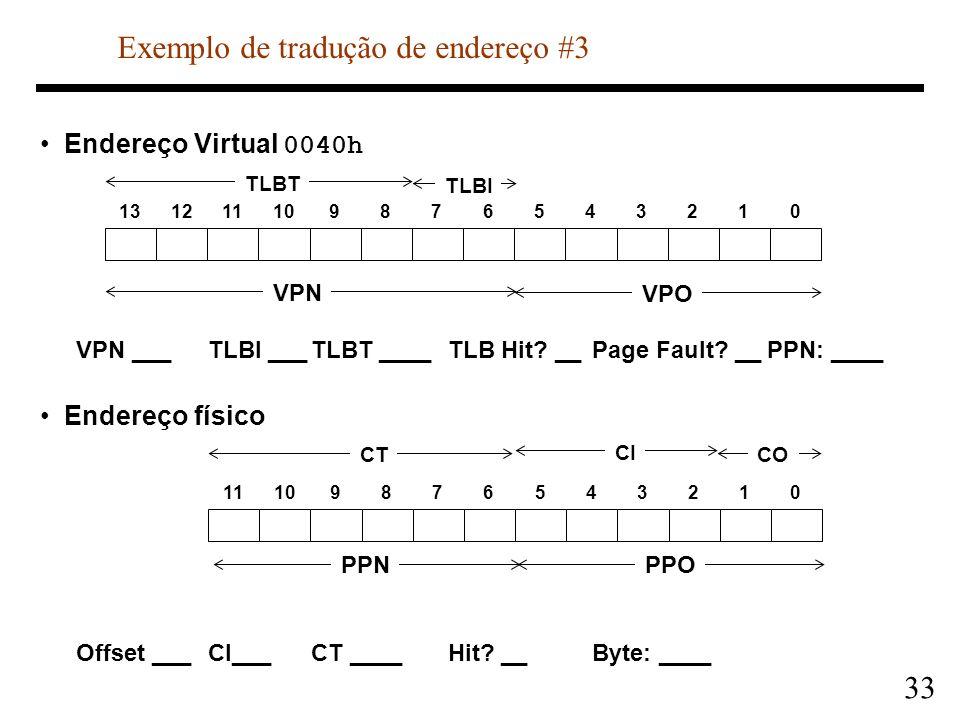 33 Endereço Virtual 0040h VPN ___TLBI ___TLBT ____TLB Hit? __Page Fault? __PPN: ____ Endereço físico Offset ___CI___CT ____Hit? __Byte: ____ 131211109