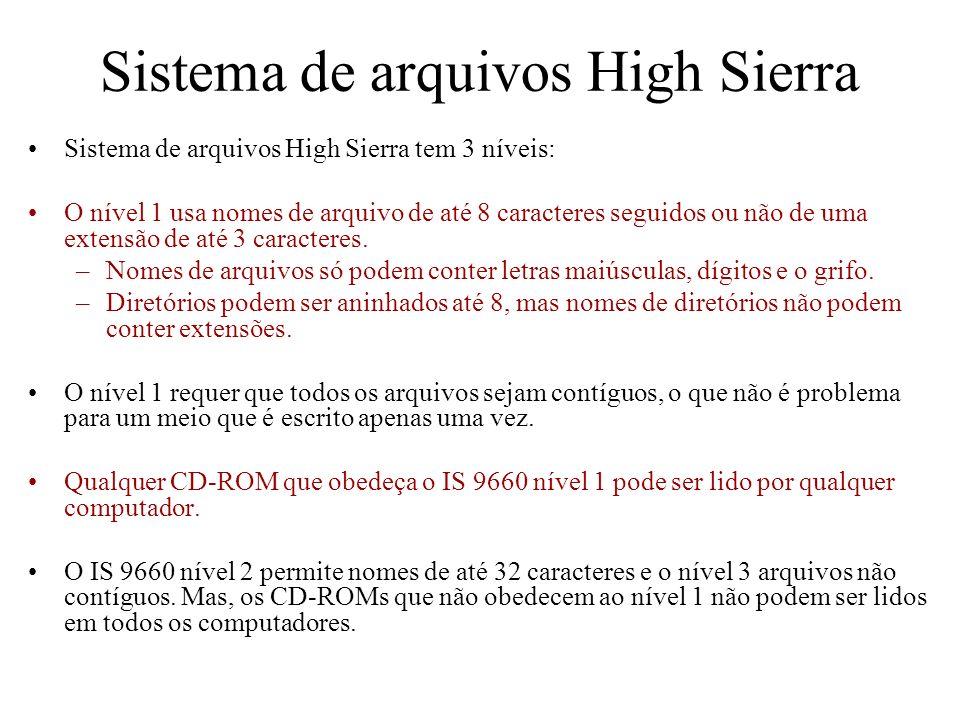 Sistema de arquivos High Sierra Sistema de arquivos High Sierra tem 3 níveis: O nível 1 usa nomes de arquivo de até 8 caracteres seguidos ou não de um