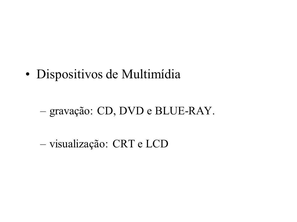 Dispositivos de Multimídia –gravação: CD, DVD e BLUE-RAY. –visualização: CRT e LCD
