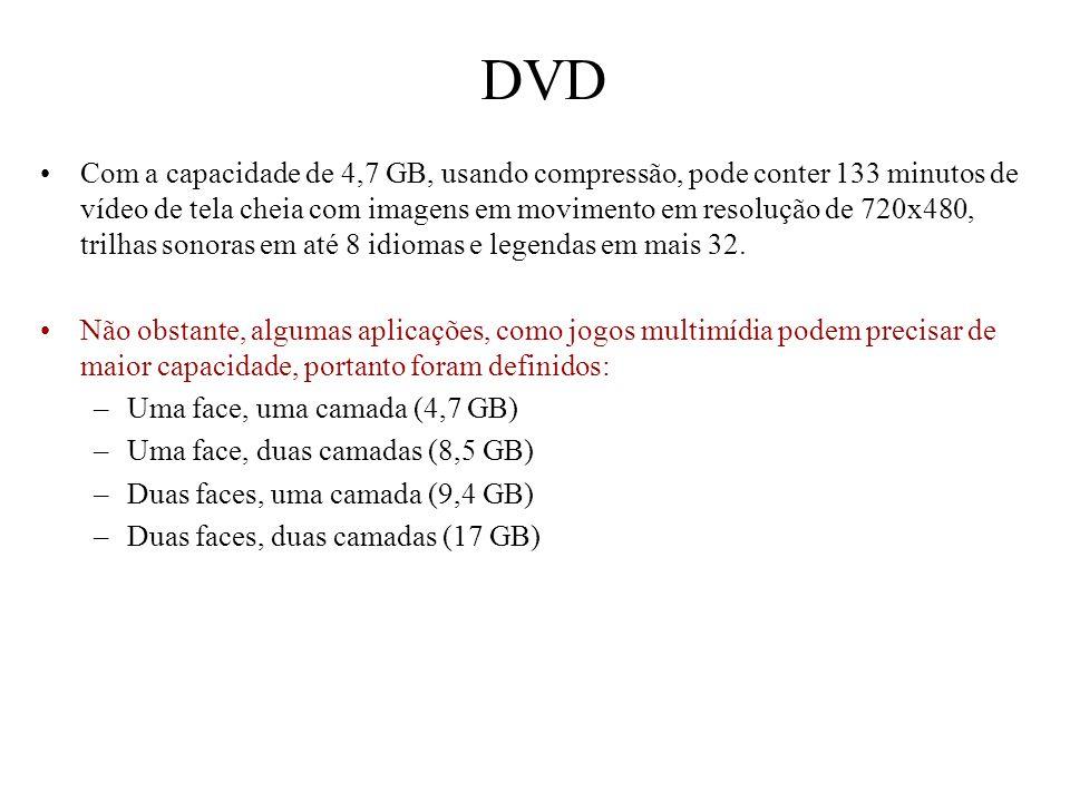 DVD Com a capacidade de 4,7 GB, usando compressão, pode conter 133 minutos de vídeo de tela cheia com imagens em movimento em resolução de 720x480, tr