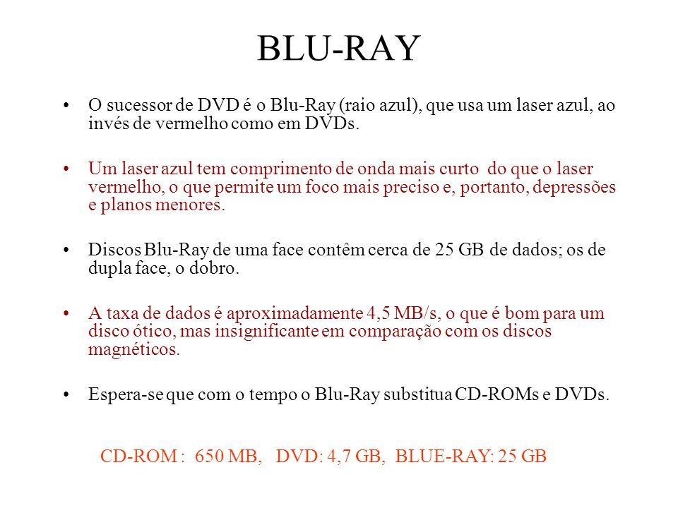 BLU-RAY O sucessor de DVD é o Blu-Ray (raio azul), que usa um laser azul, ao invés de vermelho como em DVDs. Um laser azul tem comprimento de onda mai