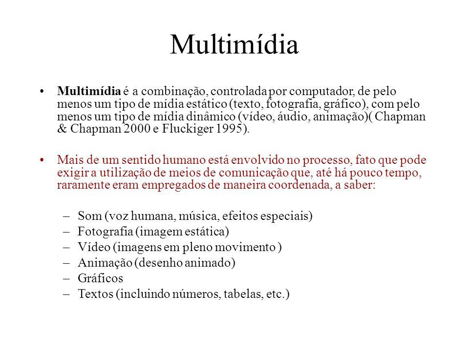 Multimídia Multimídia é a combinação, controlada por computador, de pelo menos um tipo de mídia estático (texto, fotografia, gráfico), com pelo menos