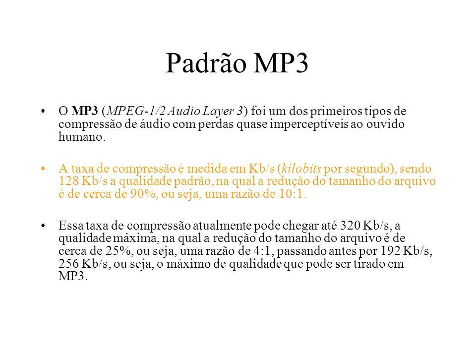Padrão MP3 O MP3 (MPEG-1/2 Audio Layer 3) foi um dos primeiros tipos de compressão de áudio com perdas quase imperceptíveis ao ouvido humano. A taxa d