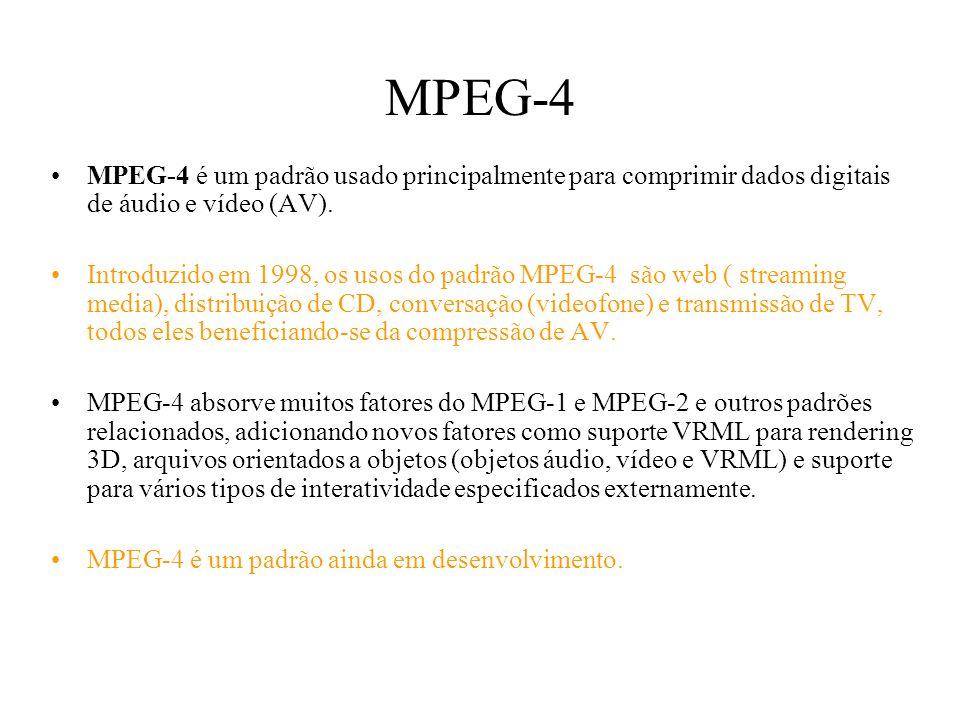 MPEG-4 MPEG-4 é um padrão usado principalmente para comprimir dados digitais de áudio e vídeo (AV). Introduzido em 1998, os usos do padrão MPEG-4 são
