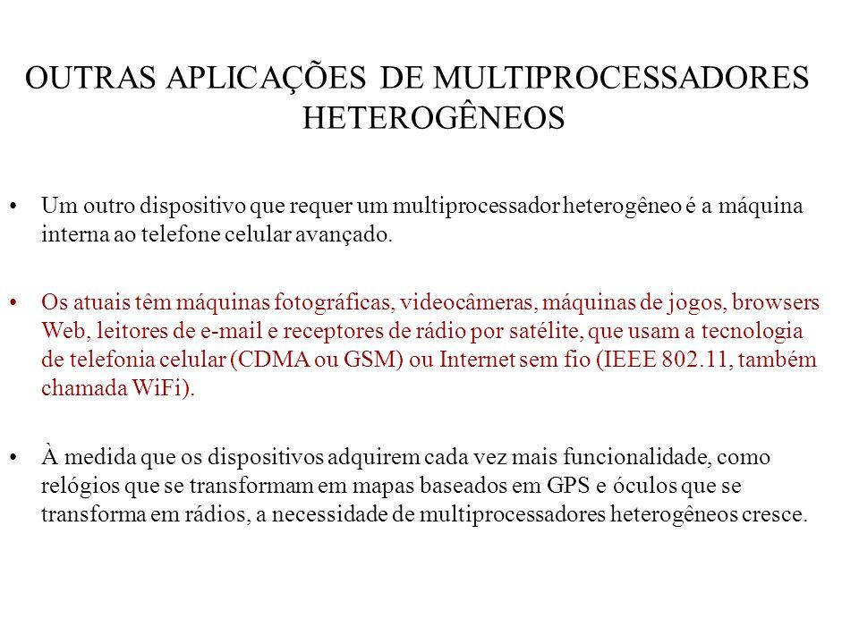 OUTRAS APLICAÇÕES DE MULTIPROCESSADORES HETEROGÊNEOS Um outro dispositivo que requer um multiprocessador heterogêneo é a máquina interna ao telefone c
