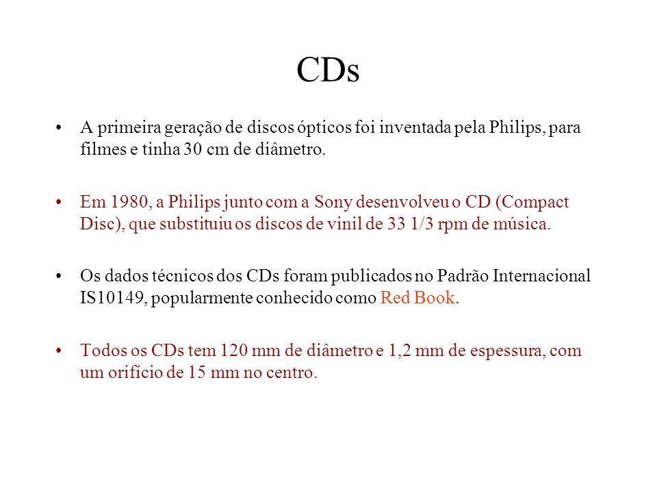 CDs A primeira geração de discos ópticos foi inventada pela Philips, para filmes e tinha 30 cm de diâmetro. Em 1980, a Philips junto com a Sony desenv