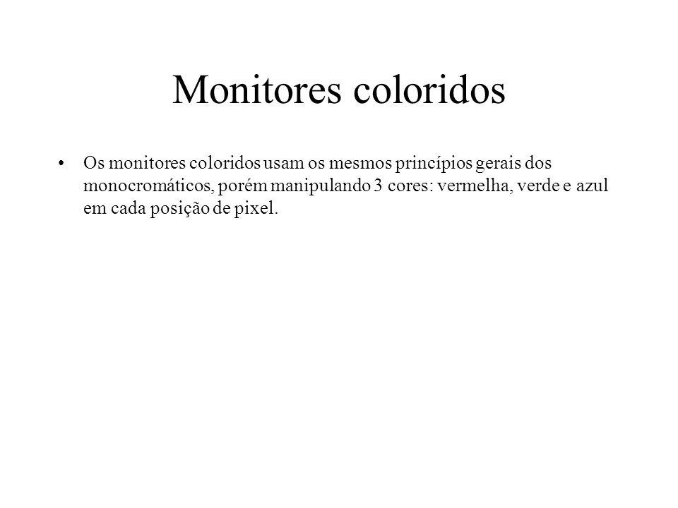 Monitores coloridos Os monitores coloridos usam os mesmos princípios gerais dos monocromáticos, porém manipulando 3 cores: vermelha, verde e azul em c