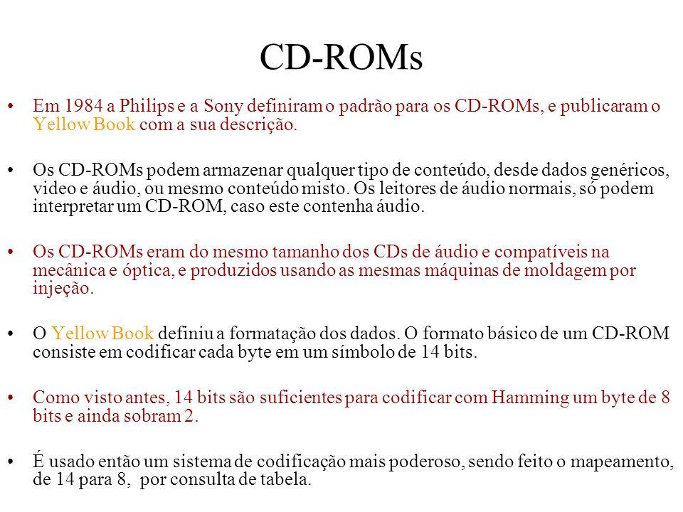 CD-ROMs Em 1984 a Philips e a Sony definiram o padrão para os CD-ROMs, e publicaram o Yellow Book com a sua descrição. Os CD-ROMs podem armazenar qual