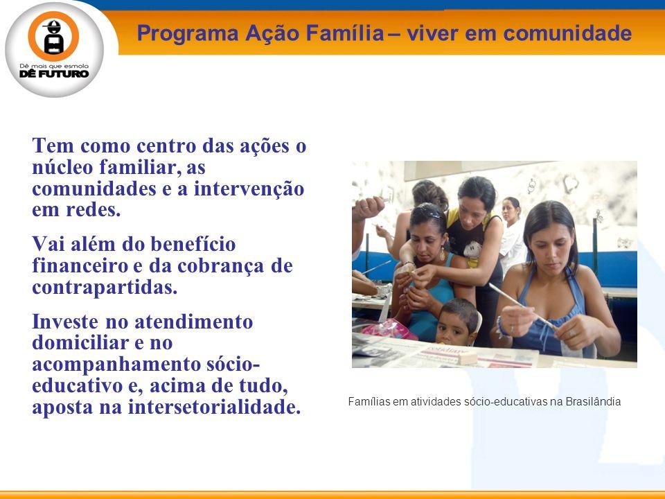 Tem como centro das ações o núcleo familiar, as comunidades e a intervenção em redes. Vai além do benefício financeiro e da cobrança de contrapartidas