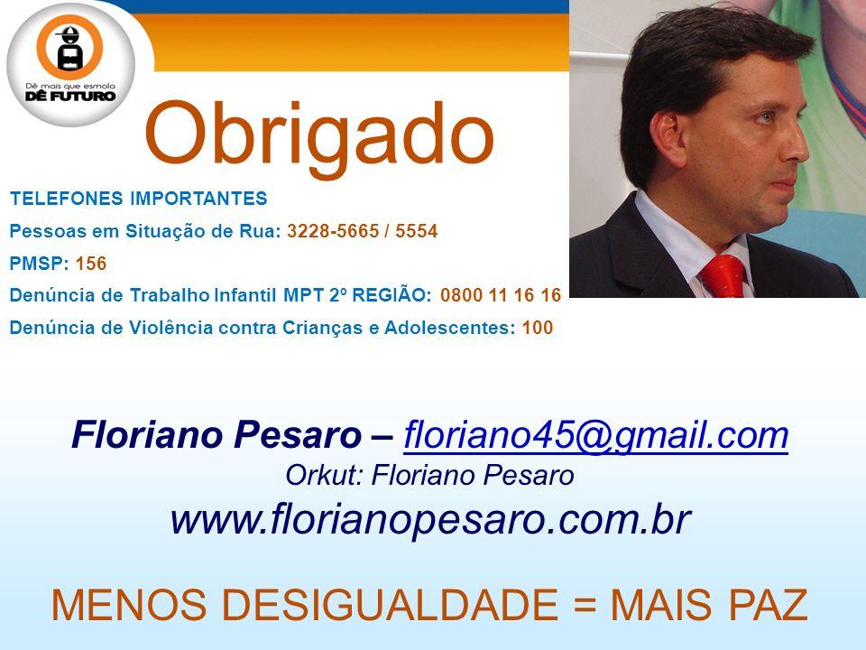 Floriano Pesaro – floriano45@gmail.comfloriano45@gmail.com Orkut: Floriano Pesaro www.florianopesaro.com.br MENOS DESIGUALDADE = MAIS PAZ TELEFONES IM