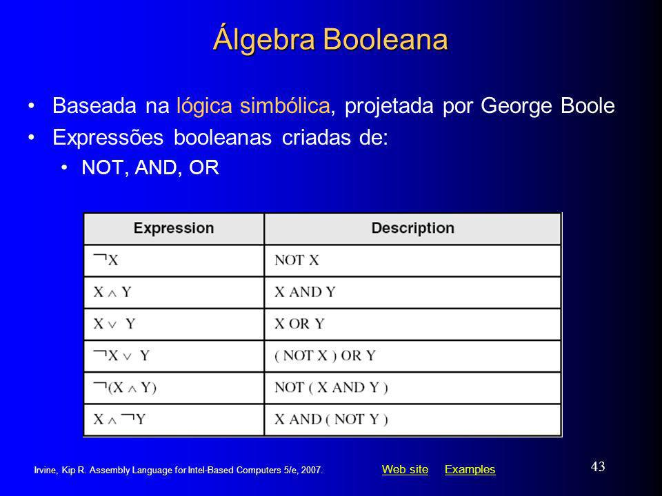 Web siteWeb site ExamplesExamples Irvine, Kip R. Assembly Language for Intel-Based Computers 5/e, 2007. 43 Álgebra Booleana Baseada na lógica simbólic