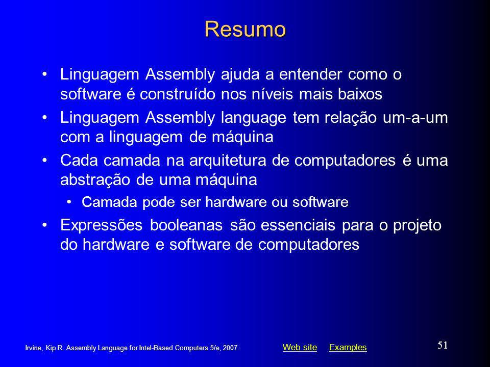 Web siteWeb site ExamplesExamples Irvine, Kip R. Assembly Language for Intel-Based Computers 5/e, 2007. 51 Resumo Linguagem Assembly ajuda a entender
