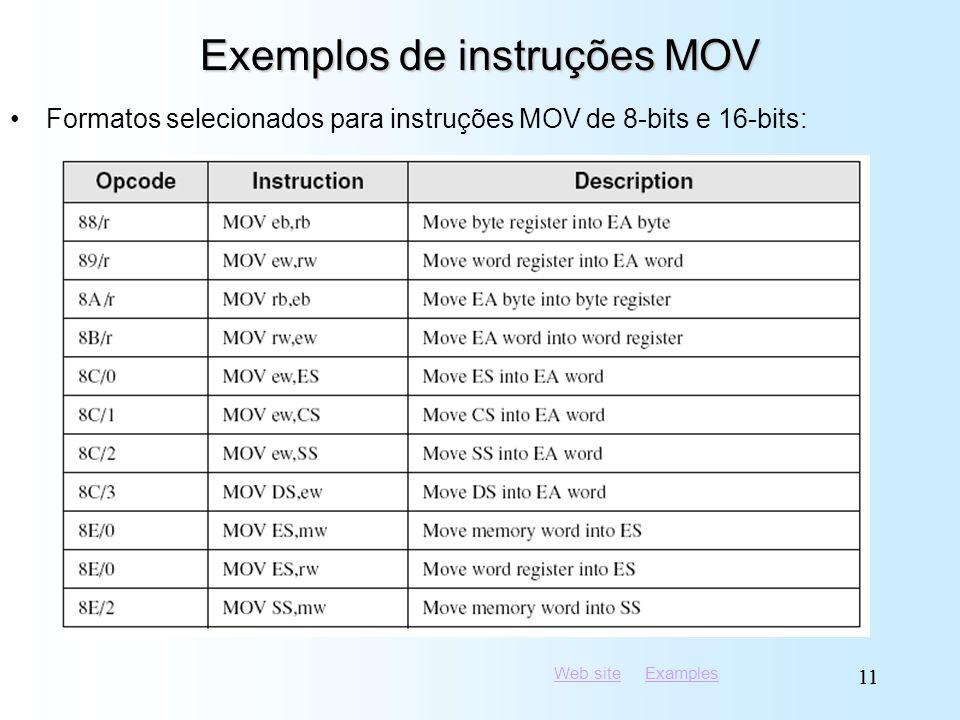 Web siteWeb site ExamplesExamples 11 Exemplos de instruções MOV Formatos selecionados para instruções MOV de 8-bits e 16-bits: