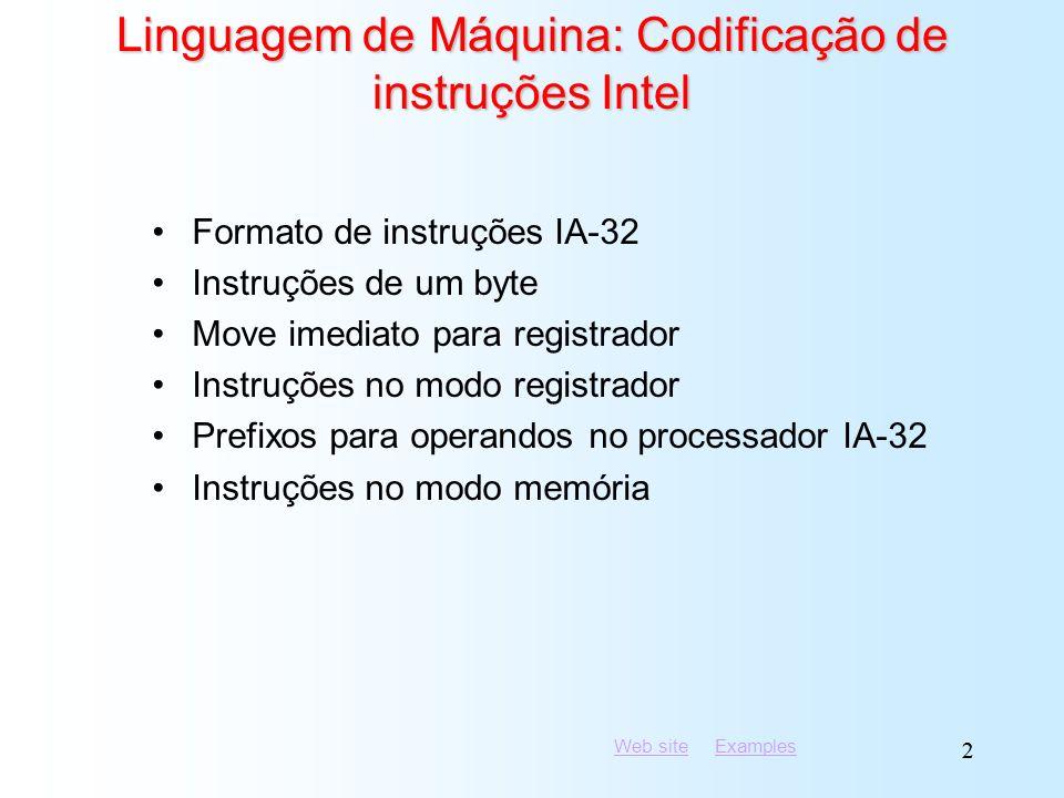 Web siteWeb site ExamplesExamples 22 Linguagem de Máquina: Codificação de instruções Intel Formato de instruções IA-32 Instruções de um byte Move imed