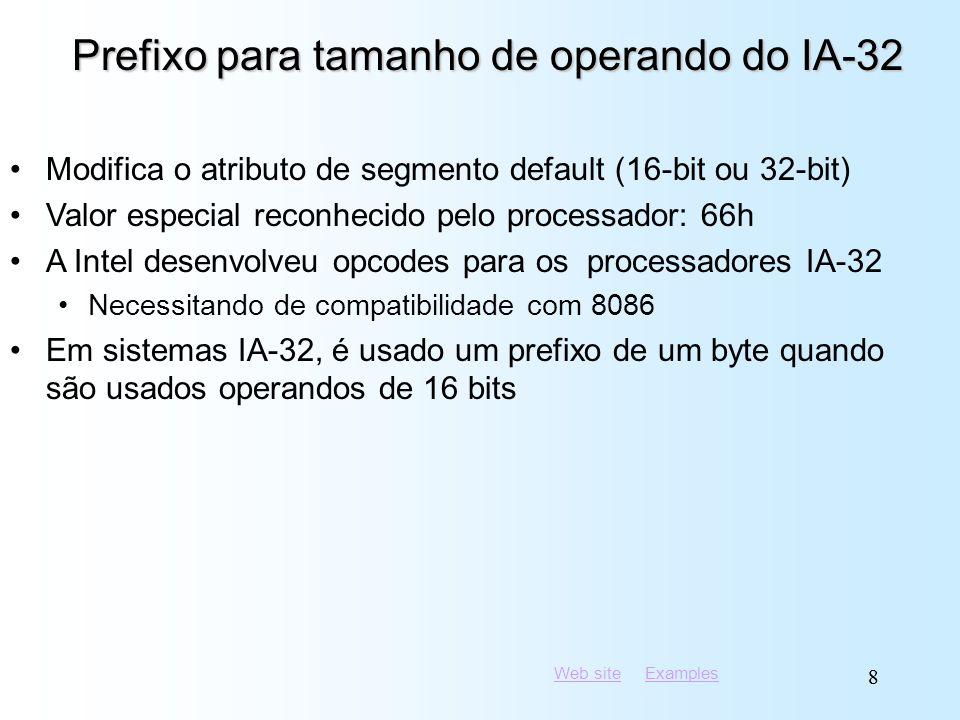 Web siteWeb site ExamplesExamples 88 Prefixo para tamanho de operando do IA-32 Modifica o atributo de segmento default (16-bit ou 32-bit) Valor especi