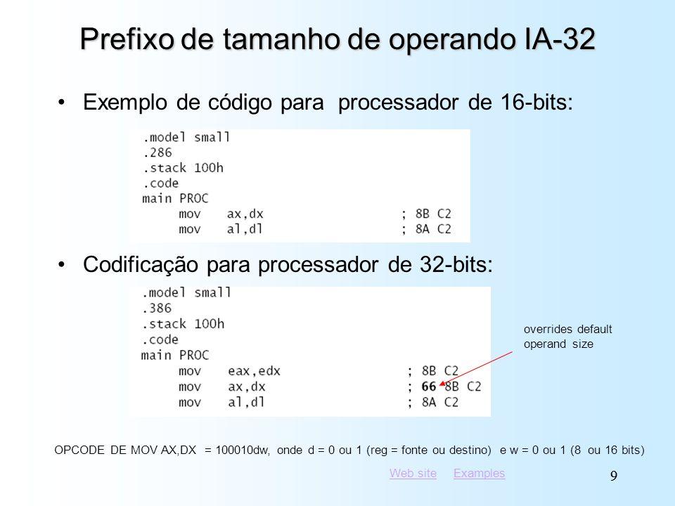 Web siteWeb site ExamplesExamples 99 Prefixo de tamanho de operando IA-32 Exemplo de código para processador de 16-bits: Codificação para processador