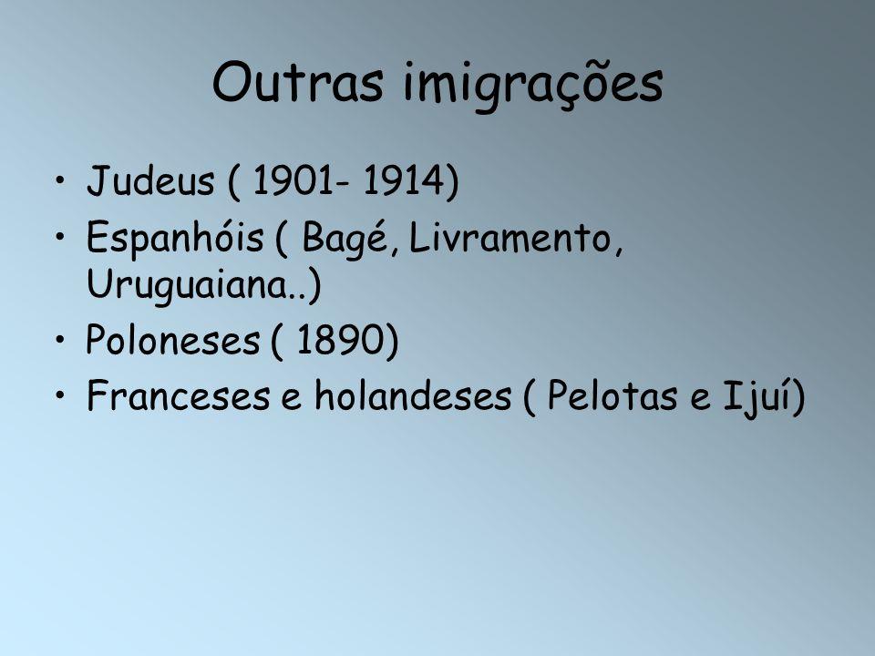 Outras imigrações Judeus ( 1901- 1914) Espanhóis ( Bagé, Livramento, Uruguaiana..) Poloneses ( 1890) Franceses e holandeses ( Pelotas e Ijuí)