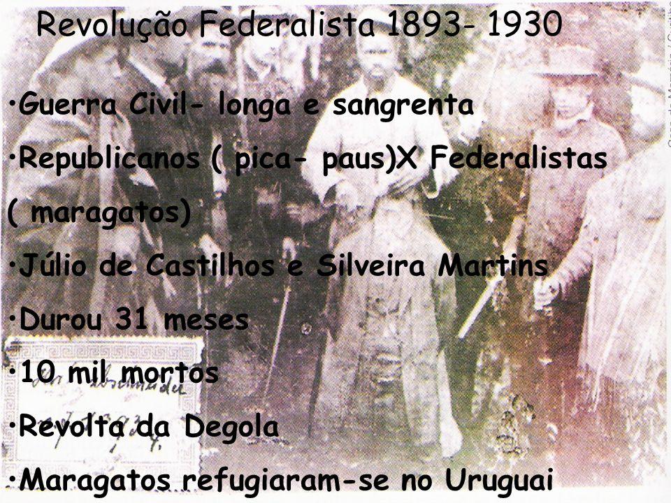Revolução Federalista 1893- 1930 Guerra Civil- longa e sangrenta Republicanos ( pica- paus)X Federalistas ( maragatos) Júlio de Castilhos e Silveira M