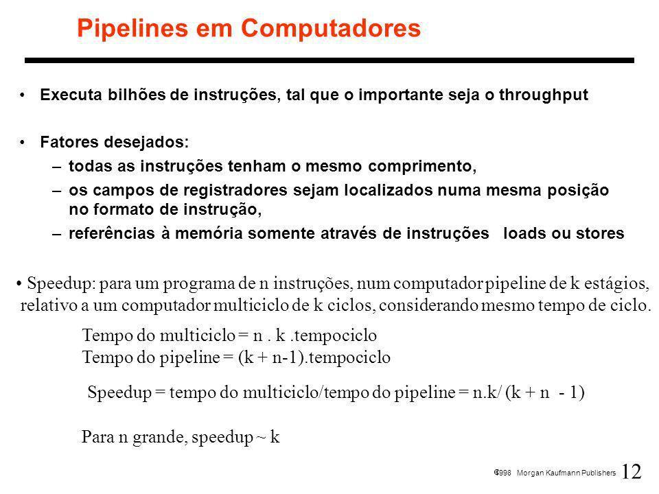 12 1998 Morgan Kaufmann Publishers Pipelines em Computadores Executa bilhões de instruções, tal que o importante seja o throughput Fatores desejados: