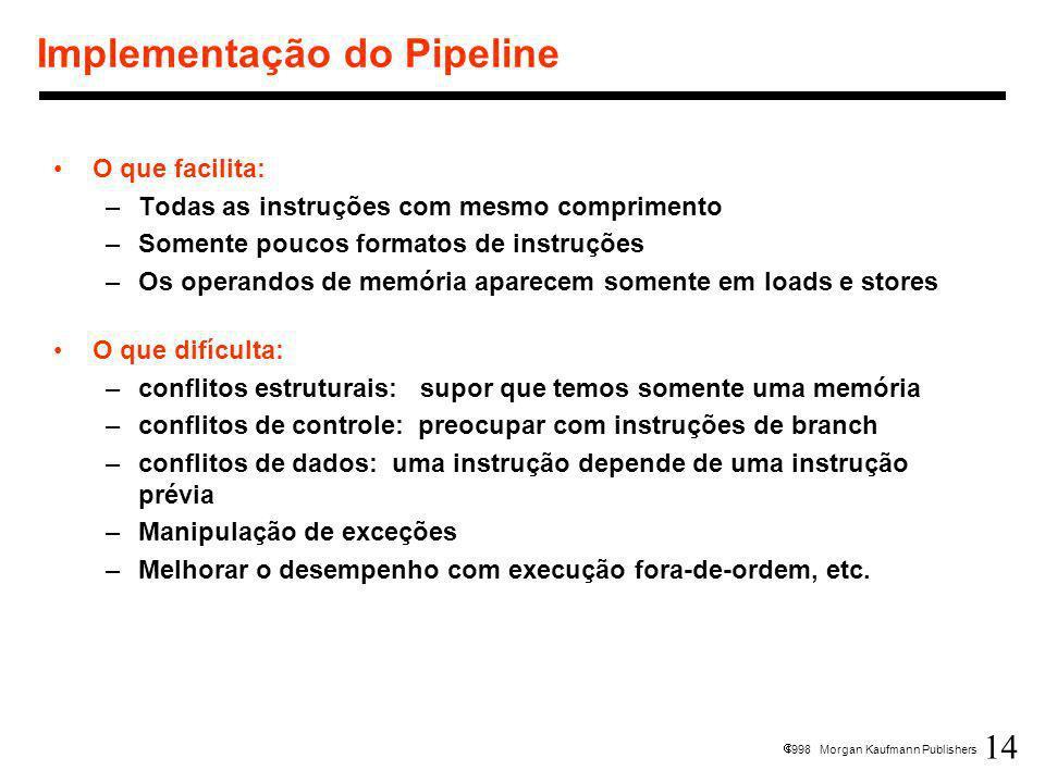 14 1998 Morgan Kaufmann Publishers Implementação do Pipeline O que facilita: –Todas as instruções com mesmo comprimento –Somente poucos formatos de in