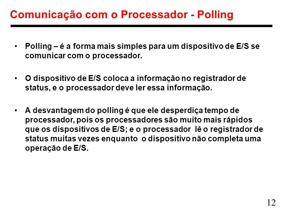 12 Comunicação com o Processador - Polling Polling – é a forma mais simples para um dispositivo de E/S se comunicar com o processador. O dispositivo d
