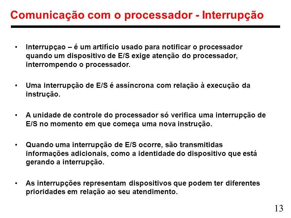13 Comunicação com o processador - Interrupção Interrupçao – é um artifício usado para notificar o processador quando um dispositivo de E/S exige aten