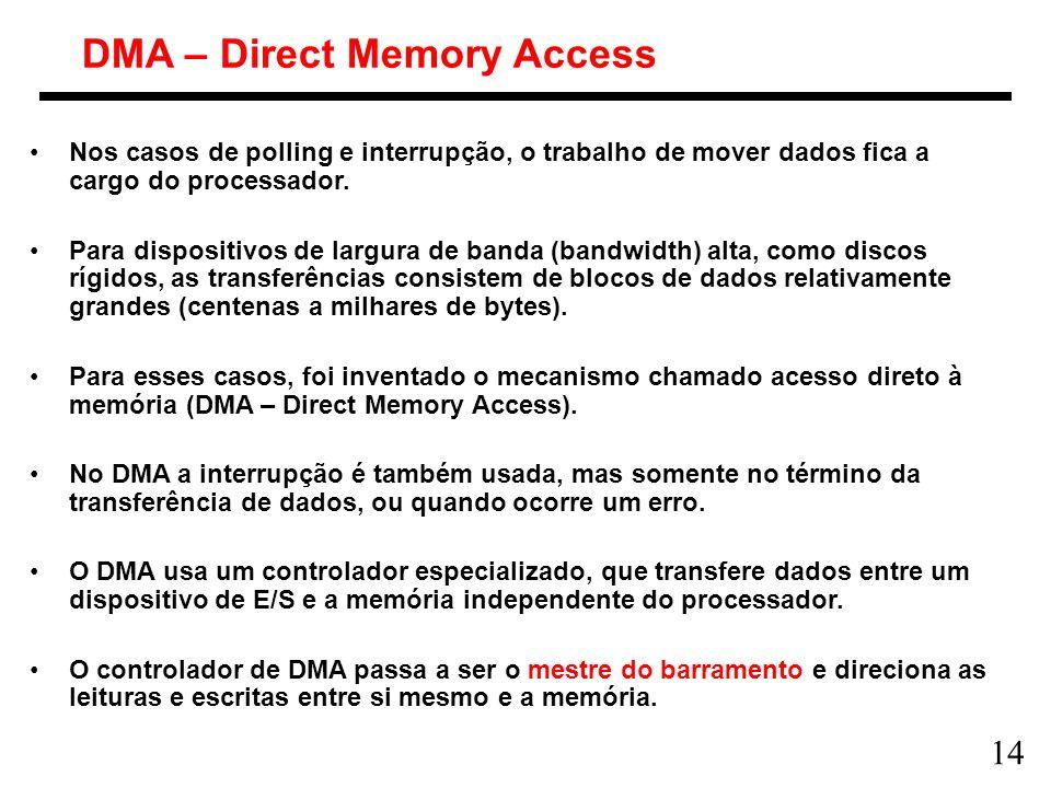 14 DMA – Direct Memory Access Nos casos de polling e interrupção, o trabalho de mover dados fica a cargo do processador. Para dispositivos de largura