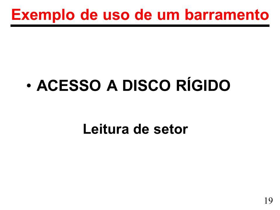 19 Exemplo de uso de um barramento ACESSO A DISCO RÍGIDO Leitura de setor