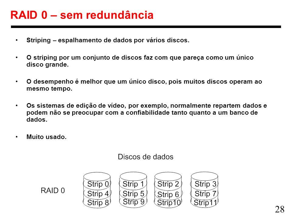 28 RAID 0 – sem redundância Striping – espalhamento de dados por vários discos. O striping por um conjunto de discos faz com que pareça como um único
