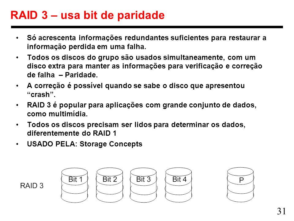 31 RAID 3 – usa bit de paridade Só acrescenta informações redundantes suficientes para restaurar a informação perdida em uma falha. Todos os discos do