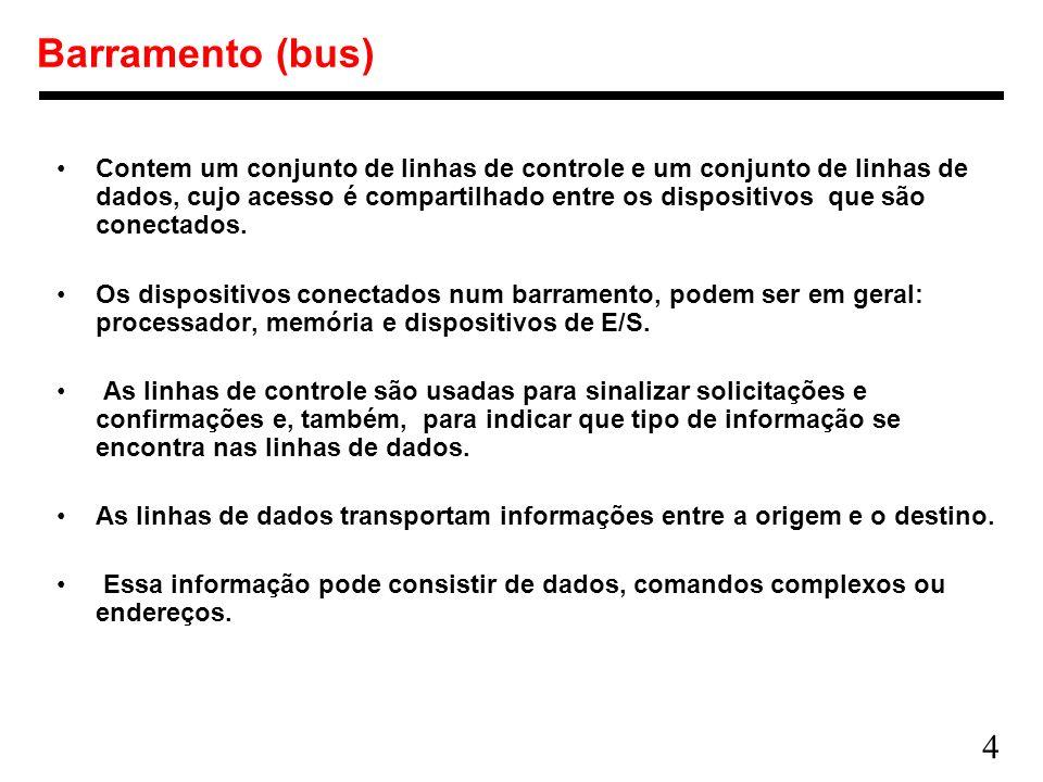 4 Barramento (bus) Contem um conjunto de linhas de controle e um conjunto de linhas de dados, cujo acesso é compartilhado entre os dispositivos que sã