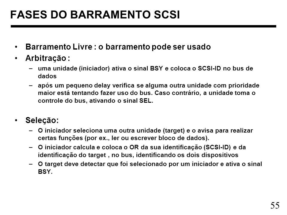 55 FASES DO BARRAMENTO SCSI Barramento Livre : o barramento pode ser usado Arbitração : –uma unidade (iniciador) ativa o sinal BSY e coloca o SCSI-ID