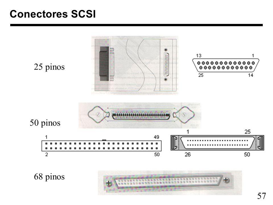 57 Conectores SCSI 50 pinos 25 pinos 68 pinos