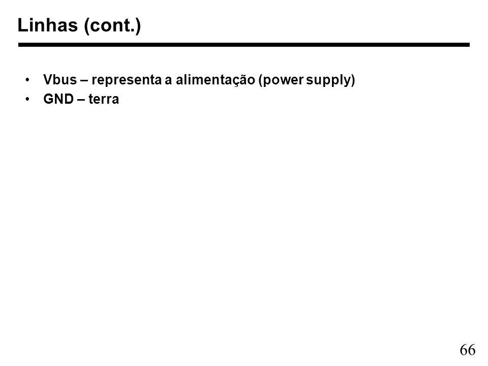 66 Linhas (cont.) Vbus – representa a alimentação (power supply) GND – terra