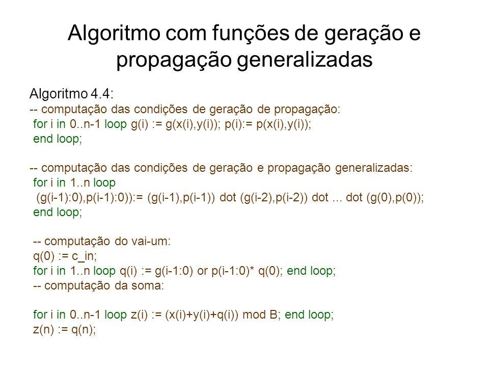 Algoritmo com funções de geração e propagação generalizadas Algoritmo 4.4: -- computação das condições de geração de propagação: for i in 0..n-1 loop