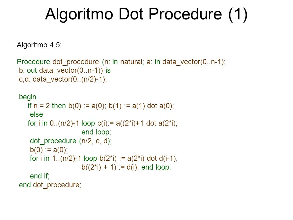 Algoritmo Dot Procedure (1) Procedure dot_procedure (n: in natural; a: in data_vector(0..n-1); b: out data_vector(0..n-1)) is c,d: data_vector(0..(n/2