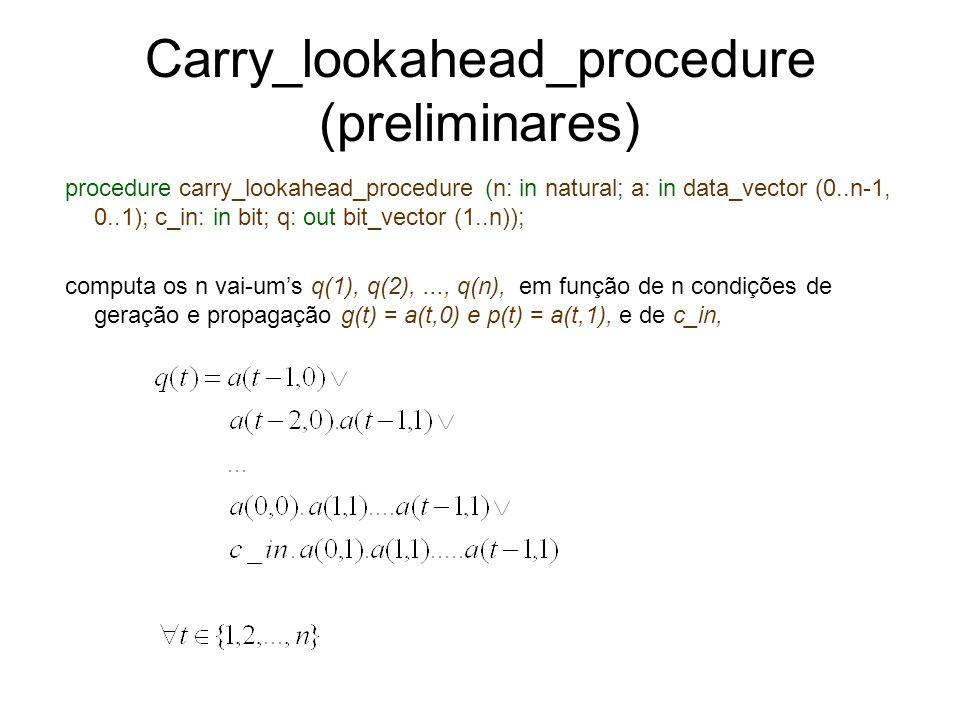 Carry_lookahead_procedure (preliminares) procedure carry_lookahead_procedure (n: in natural; a: in data_vector (0..n-1, 0..1); c_in: in bit; q: out bi