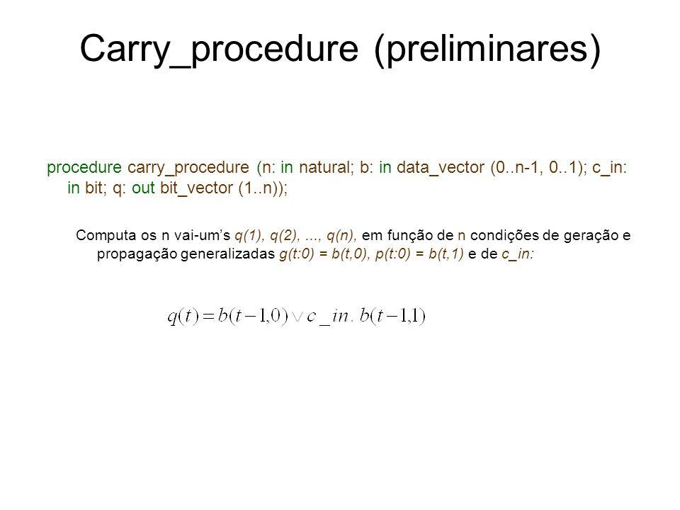 Carry_procedure (preliminares) procedure carry_procedure (n: in natural; b: in data_vector (0..n-1, 0..1); c_in: in bit; q: out bit_vector (1..n)); Co