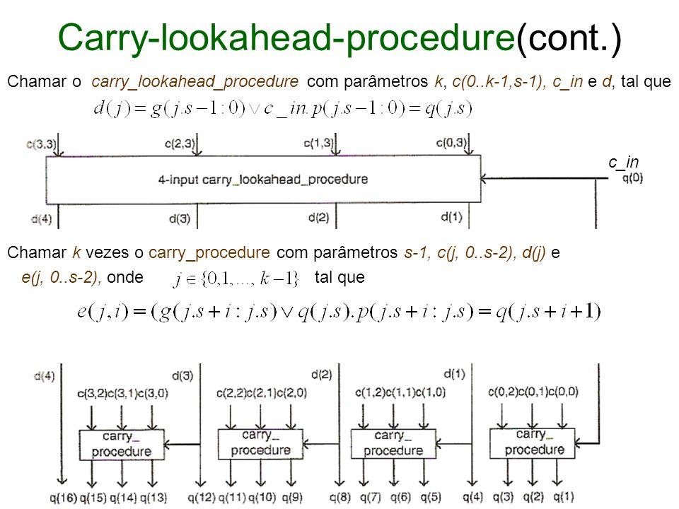 Carry-lookahead-procedure(cont.) Chamar o carry_lookahead_procedure com parâmetros k, c(0..k-1,s-1), c_in e d, tal que Chamar k vezes o carry_procedur