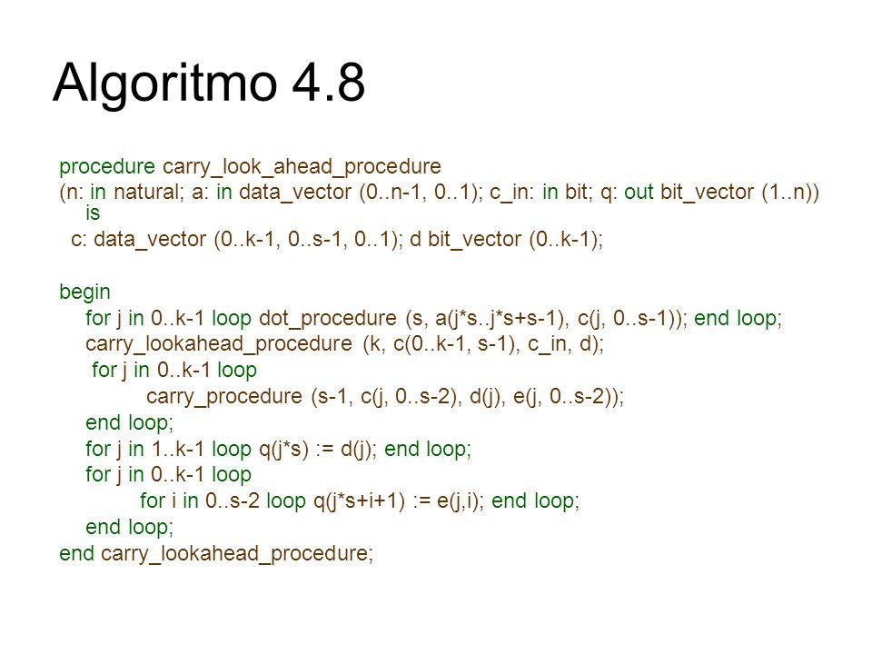 procedure carry_look_ahead_procedure (n: in natural; a: in data_vector (0..n-1, 0..1); c_in: in bit; q: out bit_vector (1..n)) is c: data_vector (0..k