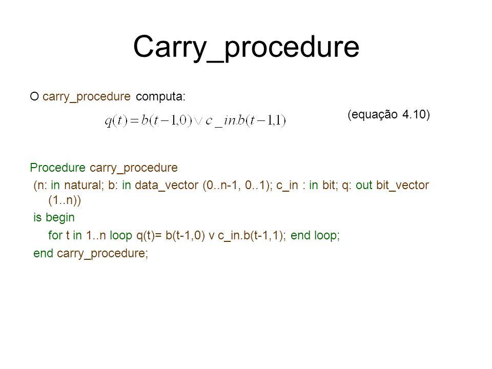 Carry_procedure O carry_procedure computa: (equação 4.10) Procedure carry_procedure (n: in natural; b: in data_vector (0..n-1, 0..1); c_in : in bit; q