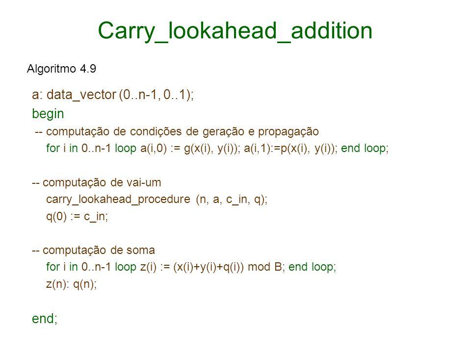 Carry_lookahead_addition a: data_vector (0..n-1, 0..1); begin -- computação de condições de geração e propagação for i in 0..n-1 loop a(i,0) := g(x(i)
