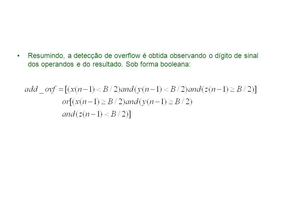 Resumindo, a detecção de overflow é obtida observando o dígito de sinal dos operandos e do resultado. Sob forma booleana: