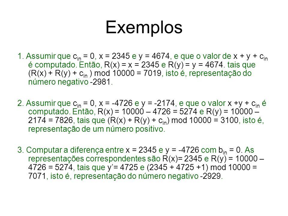 Exemplos 1. Assumir que c in = 0, x = 2345 e y = 4674, e que o valor de x + y + c in é computado. Então, R(x) = x = 2345 e R(y) = y = 4674. tais que (