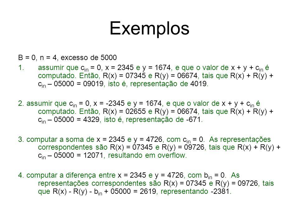 Exemplos B = 0, n = 4, excesso de 5000 1.assumir que c in = 0, x = 2345 e y = 1674, e que o valor de x + y + c in é computado. Então, R(x) = 07345 e R