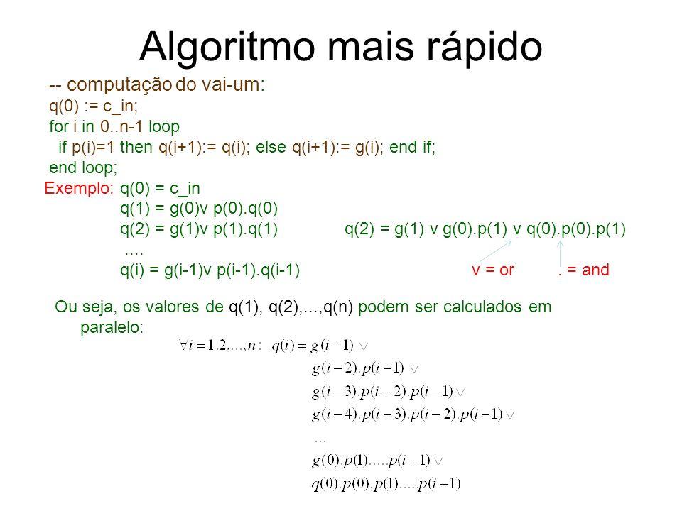 Algoritmo mais rápido Ou seja, os valores de q(1), q(2),...,q(n) podem ser calculados em paralelo: -- computação do vai-um: q(0) := c_in; for i in 0..