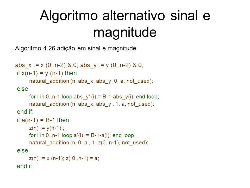 Algoritmo alternativo sinal e magnitude Algoritmo 4.26 adição em sinal e magnitude abs_x := x (0..n-2) & 0; abs_y := y (0..n-2) & 0; if x(n-1) = y (n-