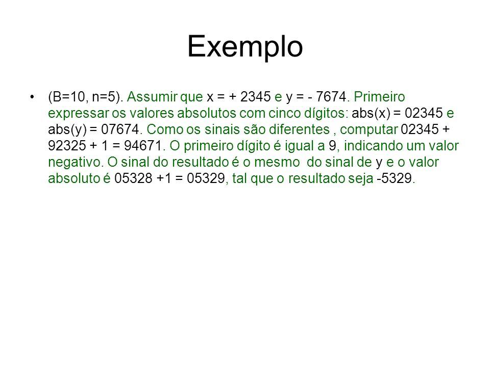 Exemplo (B=10, n=5). Assumir que x = + 2345 e y = - 7674. Primeiro expressar os valores absolutos com cinco dígitos: abs(x) = 02345 e abs(y) = 07674.